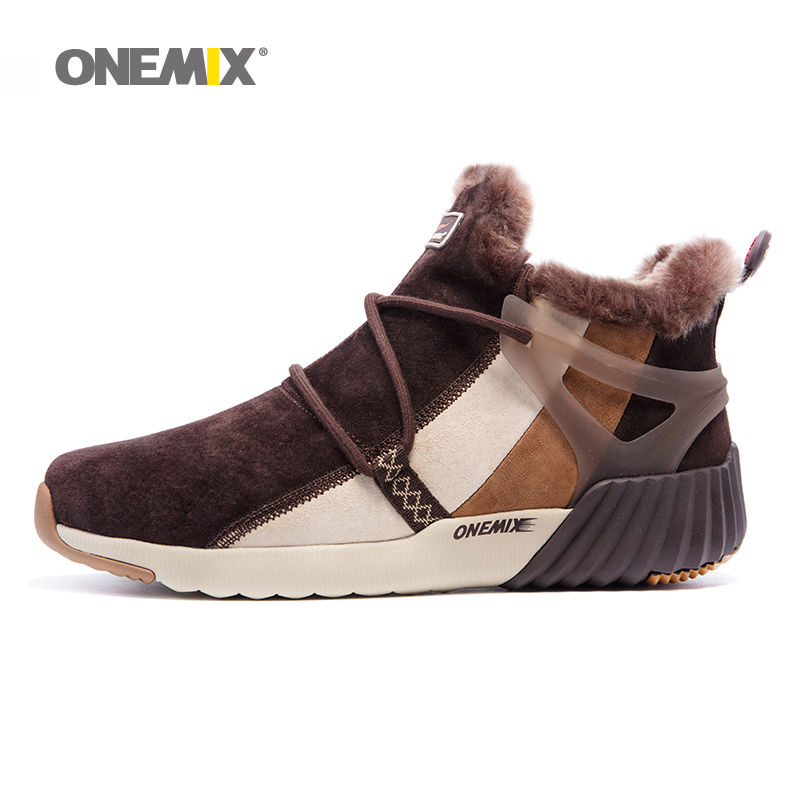 ONEMIX New Winter Mens Boots Warm Wool Sneakers Outdoor Unisex Running Shoes Comfortable Athletic Sport Shoes Sales Size 36-45