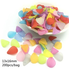Meideheng Acrylic Scrub multicolor beads dull polish small leaves flower for Jewelry making high quality 13*16mm 200pcs