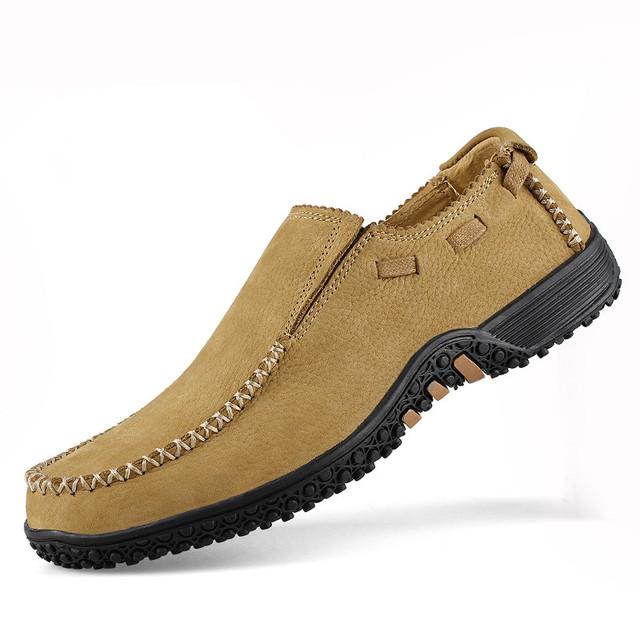 Cuatro Temporada Anti-Olor Resbalón En Los Hombres de Cuero de Vaca Zapatos Ocasionales Respirables Auténticos Zapatos Náuticos de Cuero