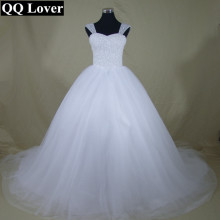 QQ Lover 2017 New Bling Bling Crystals Beaded  Wedding dress Bridal Gown Custom made Plus Size Vestido De Noiva