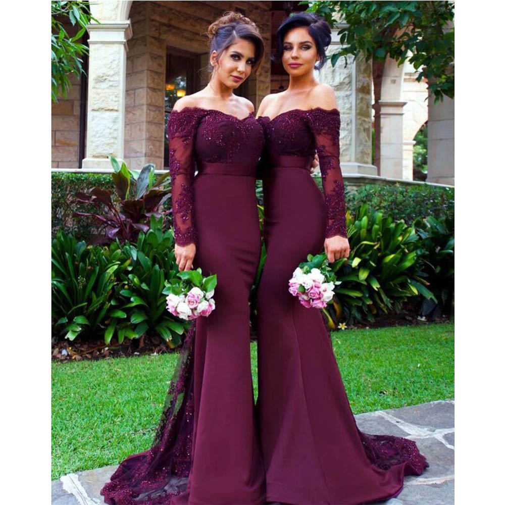 Romantic Long Sleeve Lilac   Bridesmaid     Dresses   Vestido Para Madrinha 2019 Sheer Lace Appliques Sweep Train Party Gown Hot Sale