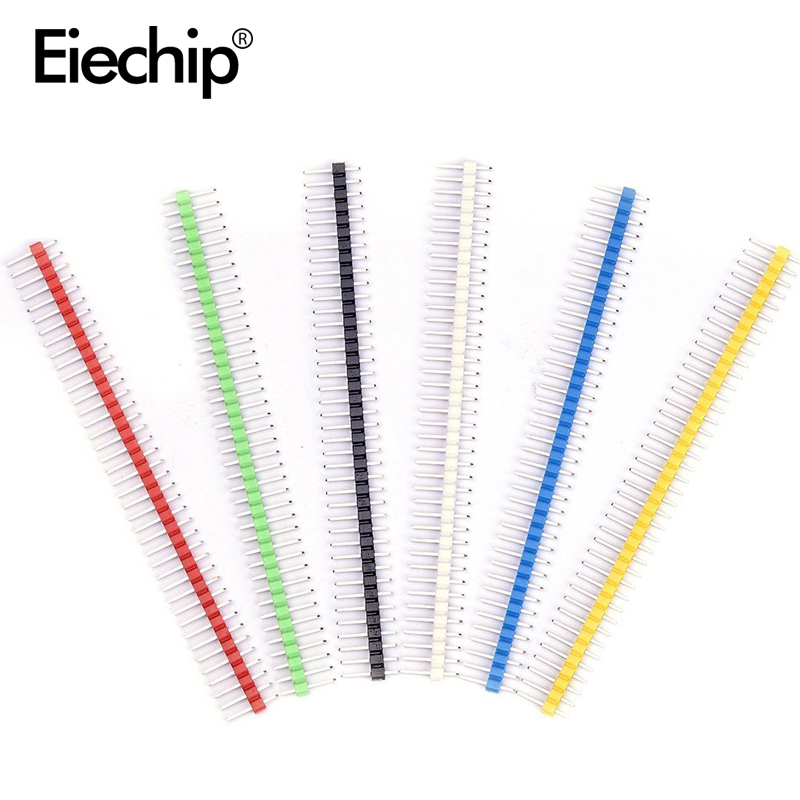 30pcs Pin Connector Male 2.54mm Pitch Pin Header Strip Single Row 40 Pin Connector Kit For PCB Board 6 Colors Each 5pcs