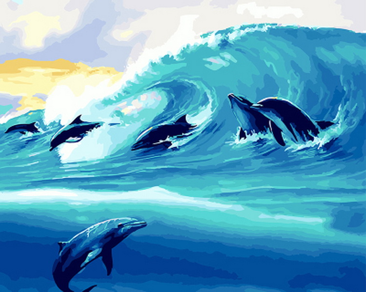 Frameless oil painting by numbers paint by number for home decor oil picture painting 5065 dolphin