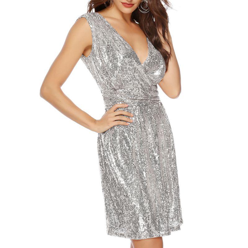 Vestido Mini Ladies Dresses Elegant Evening Party Dress Women Women Ornate Glitter Scale Sleeveless V-Neck Sequin Dress