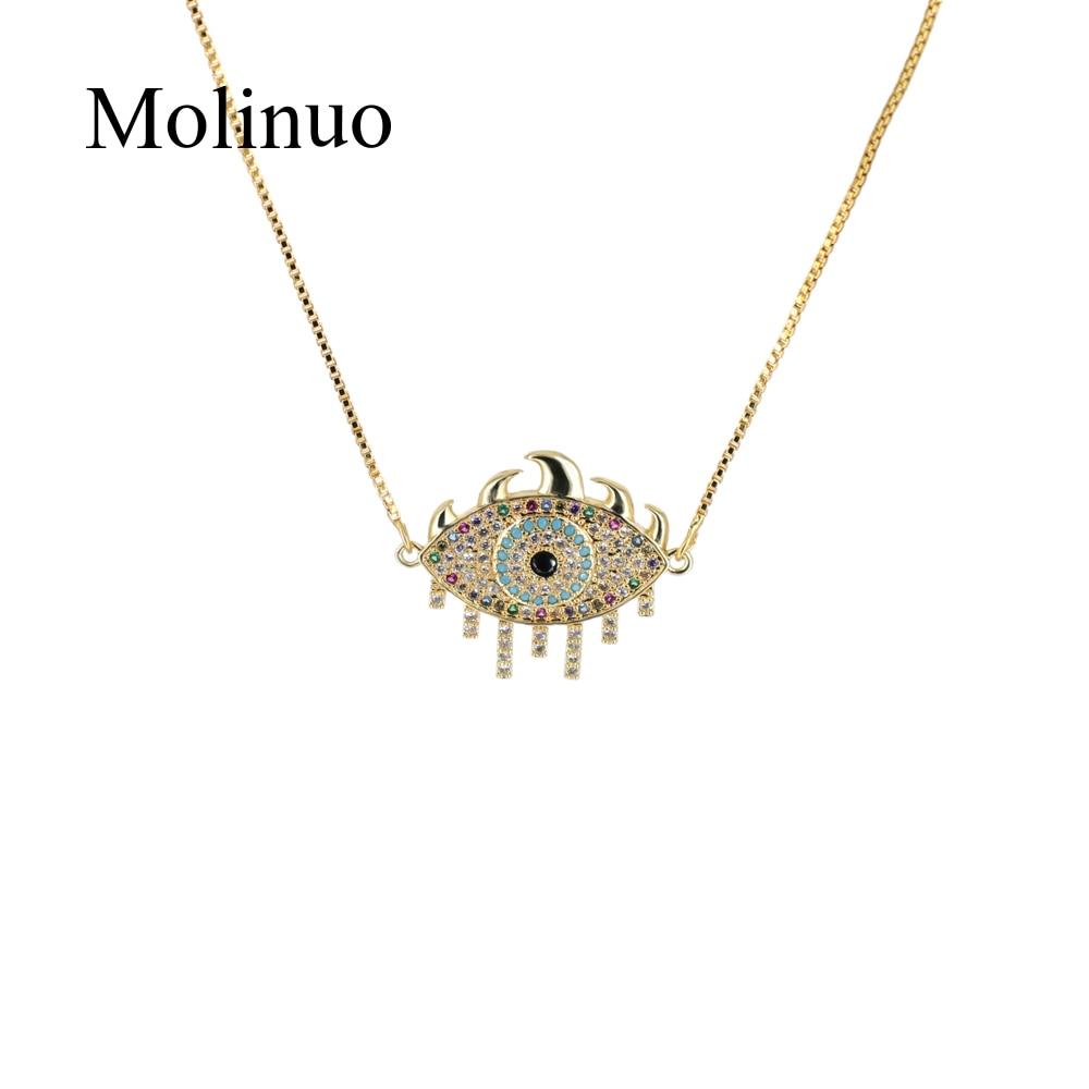 2019 Molinuo charm micro pave setting colorful cz evil eye eyelash Turkish  fashion jewelry women pendant necklace