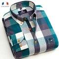Langmeng envío libre 100% algodón Blusa Ocasional Lijada Calidad caliente camisa A Cuadros de Manga Larga Camisas de franela de Los Hombres