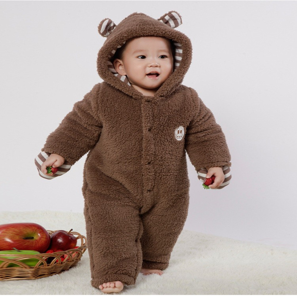 Cute Winter Warm Long Sleeve Coral Fleece Infant Baby Rompers Cartoon Jumpsuit Boys Girls Animal Overall Baby Brown Clothes winter newborn bear jumpsuit patchwork long sleeve baby rompers clothes baby boys jumpsuits infant girls clothing overall