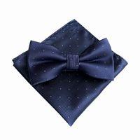 7 Color Men's Fashion Bowtie Hanky Set Groom Gentleman Dots Cravat Pocket Towel Handkerchief Wedding Party 5