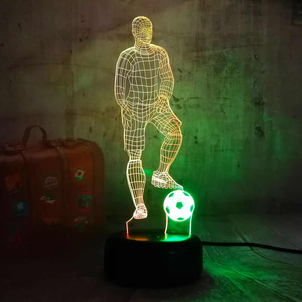 Nouveauté sport Style jouer au Football Football 7 mixte double couleurs 3D LED nuit Lihgt télécommande enfants cadeau décoration lampe de Table