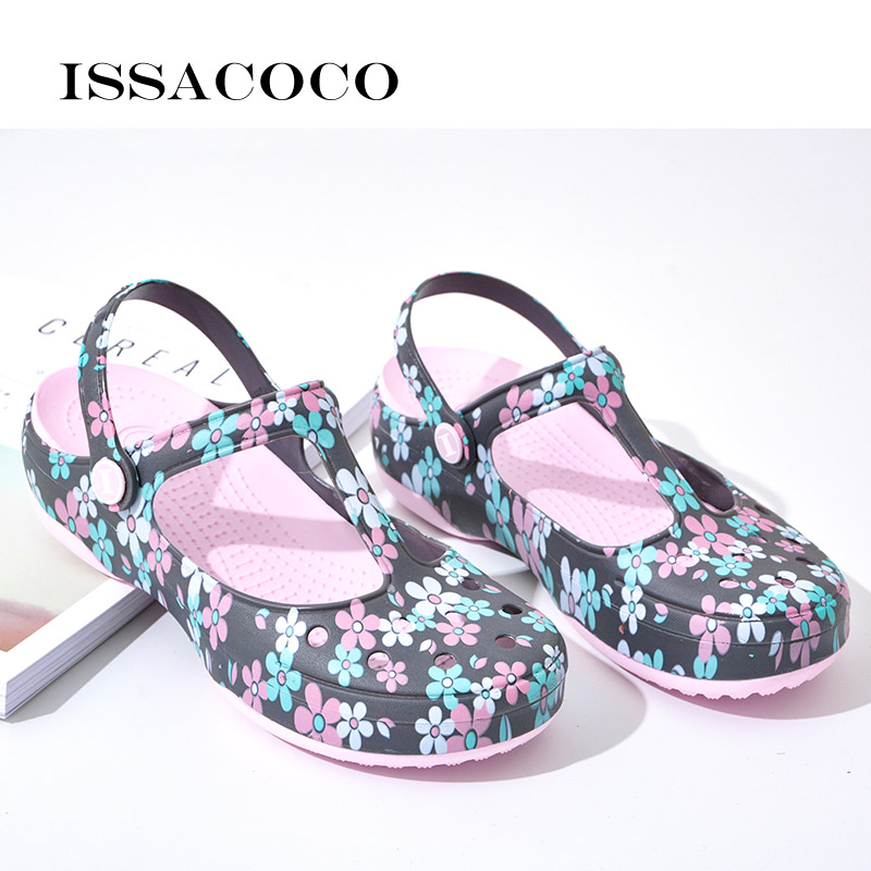 ISSACOCO Womens' Slippers Summer Sandals Beach Garden Shoes Jelly Shoes Solid Thick Heels Beach Sandals Home Slippers Flip Flops