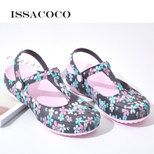 ISSACOCO Womens' Slippers Summer Sandals Beach Garden Shoes Jelly Solid Thick Heels Home Flip Flops