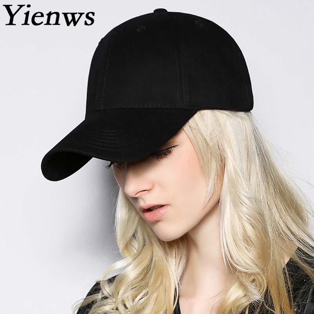 Yienws Bones Trucker Cap Man Plain Full Caps Hats Baseball Black Stylish Summer Baseball Caps for Men White YIC504