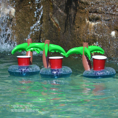 Mini <font><b>Coconut</b></font> Tree Floating Inflatable <font><b>Cup</b></font> Holder Canned Cola Drink And Cell Phone Holder Stand Pool Toys Event & Party Supplies