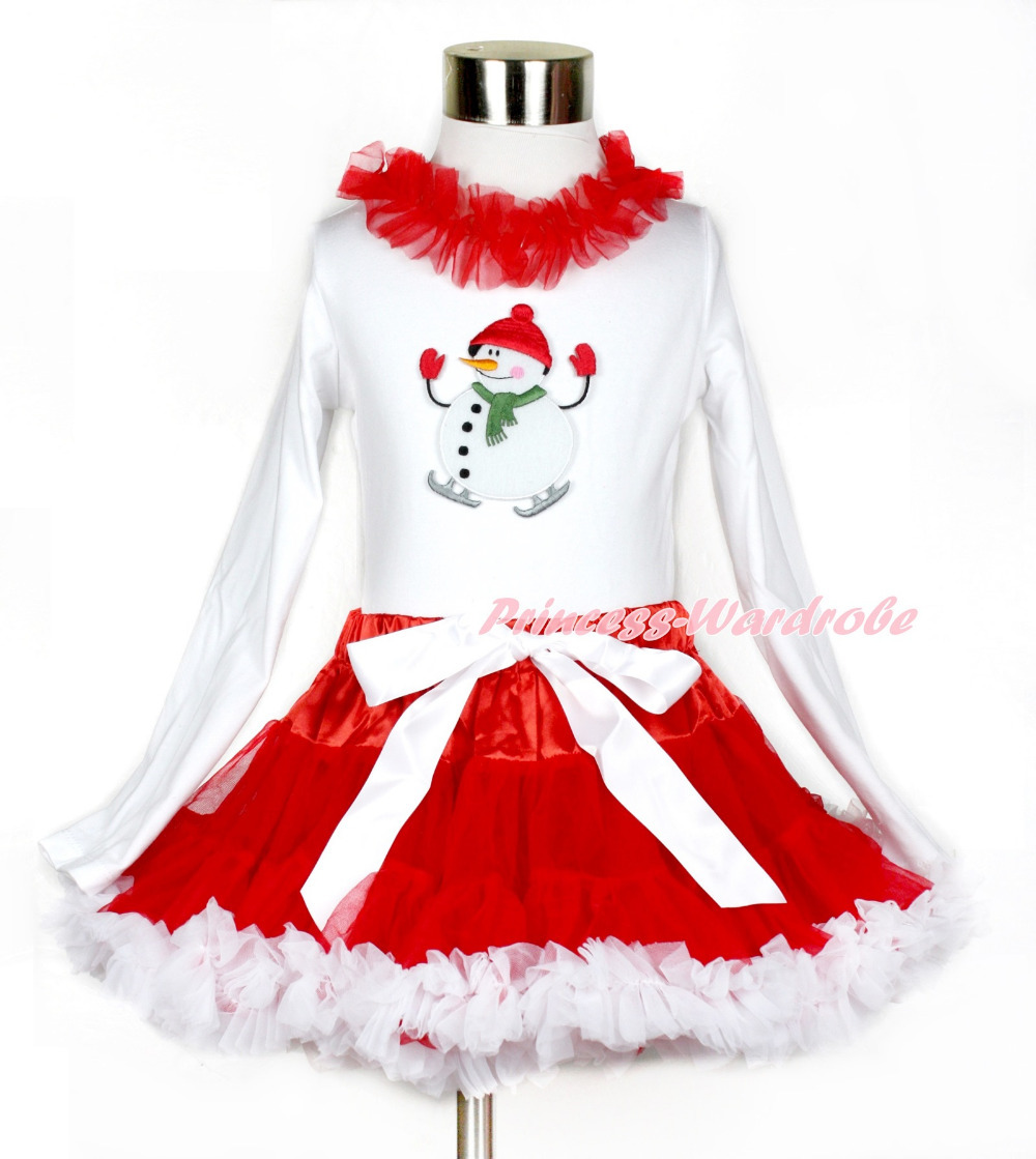 Xmas Red White Pettiskirt with Ice-Skating Snowman Print White Long Sleeve Top with Red Lacing MAMW401 first sticker book ice skating