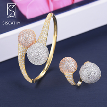 SISCATHY 3 Colors Luxury Bangle/Ring Jewelry Sets For Women Cubic Zirconia Dubai Noble Female Charms Accessories