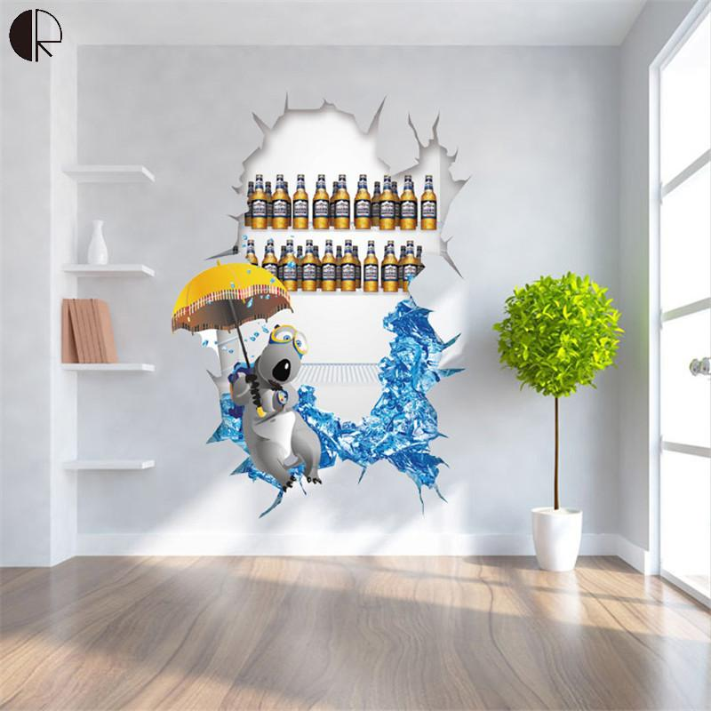 Cool Home Wall Decorative DIY 3D Wall Sticker For Living Room Creative Home  Decor Vinyl Wall Decal Mural Poster HH1318