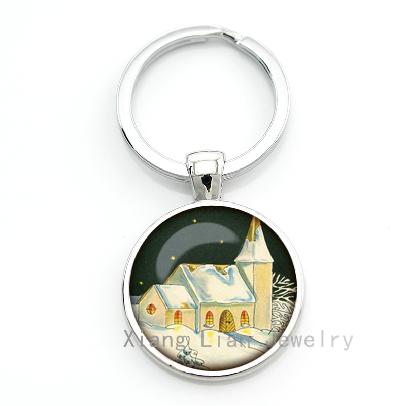 Jewelry Sets & More Key Chains Hard-Working Winter Quiet Night Snow Covered House Keychain Christmas Eve Key Chain Men Women Fashion Russian Landscape Jewelry Keyring Cm118 Products Are Sold Without Limitations
