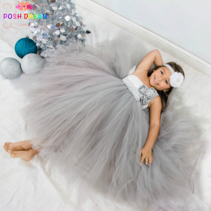 POSH DREAM Silver and White Flower Girls Clothing Rhinestone Sliver Flower Girl Party Tutu Dress Christmas Costume for GirlsPOSH DREAM Silver and White Flower Girls Clothing Rhinestone Sliver Flower Girl Party Tutu Dress Christmas Costume for Girls