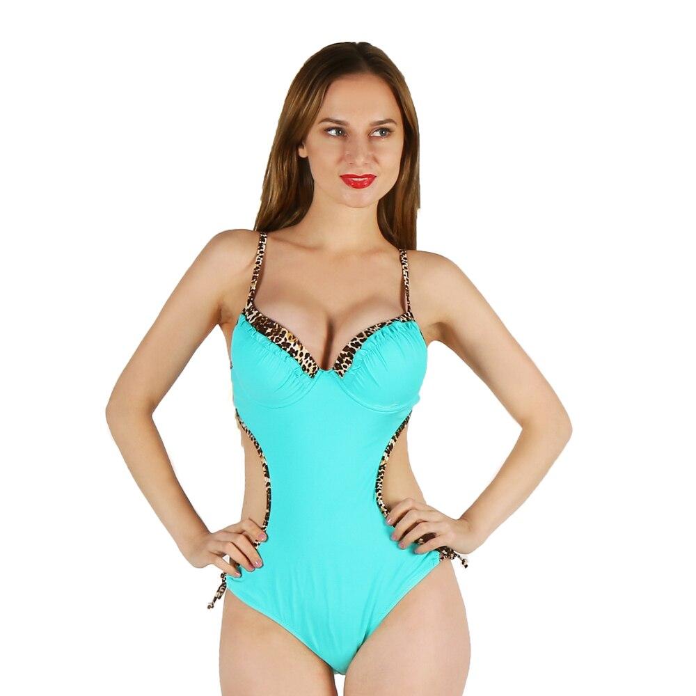 Фотография one-piece women swimwear sexy sling Leopard halter deep v blue striped flower printed large size bathing swimsuit push up female
