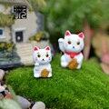 2 pcs/lot Chubby Lucky Cat Terrarium Figurines Fairy Garden Miniatures Mini Garden Decoration Home/ Micro Landscape Accessories