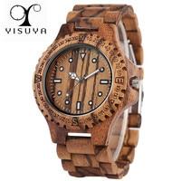 YISUYA Luxury Full Wooden Watch Men Fashion Simple Retro Wood Analog Creative Watches Modern Casual Men's Clock Gift 2019 New