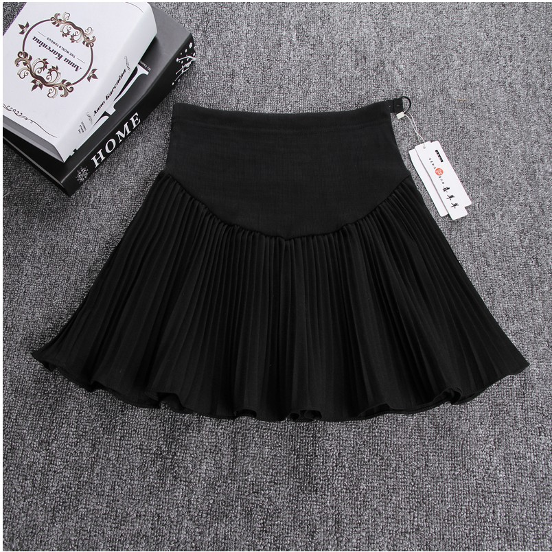 Spring Summer Breathable Abnominal Lift Pleated Mini Skirt For Women In Maternity In Style