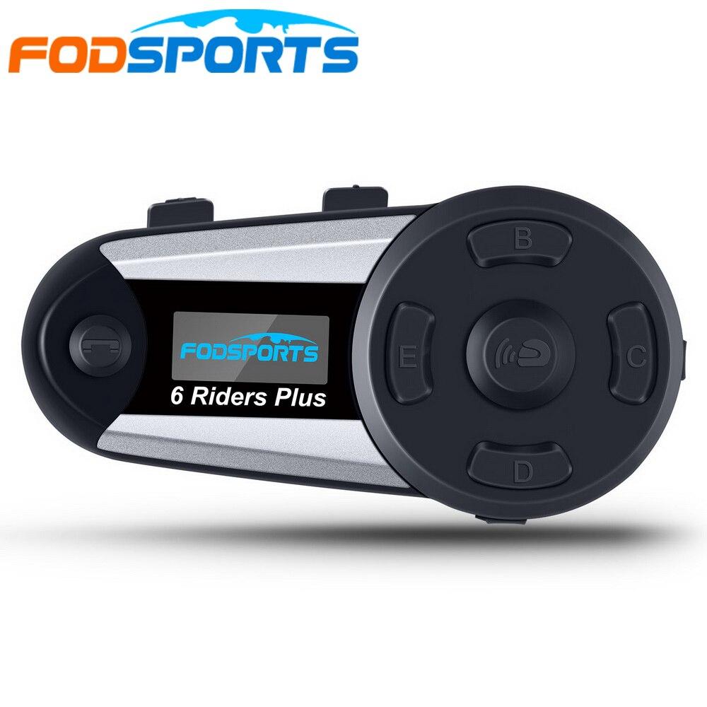 1 pièces V6 Plus 6 coureurs moto casque Bluetooth casque Interphone sans fil BT Duplex Intercomunicador Interphone FM LED