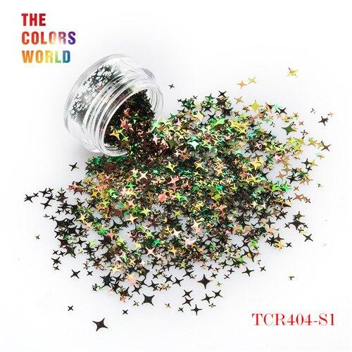 TCT-132, 12 цветов, четыре угла, форма звезд, блестки для ногтей, блестки для украшения ногтей, макияж, боди-арт, сделай сам - Цвет: TCR404-S1  50g