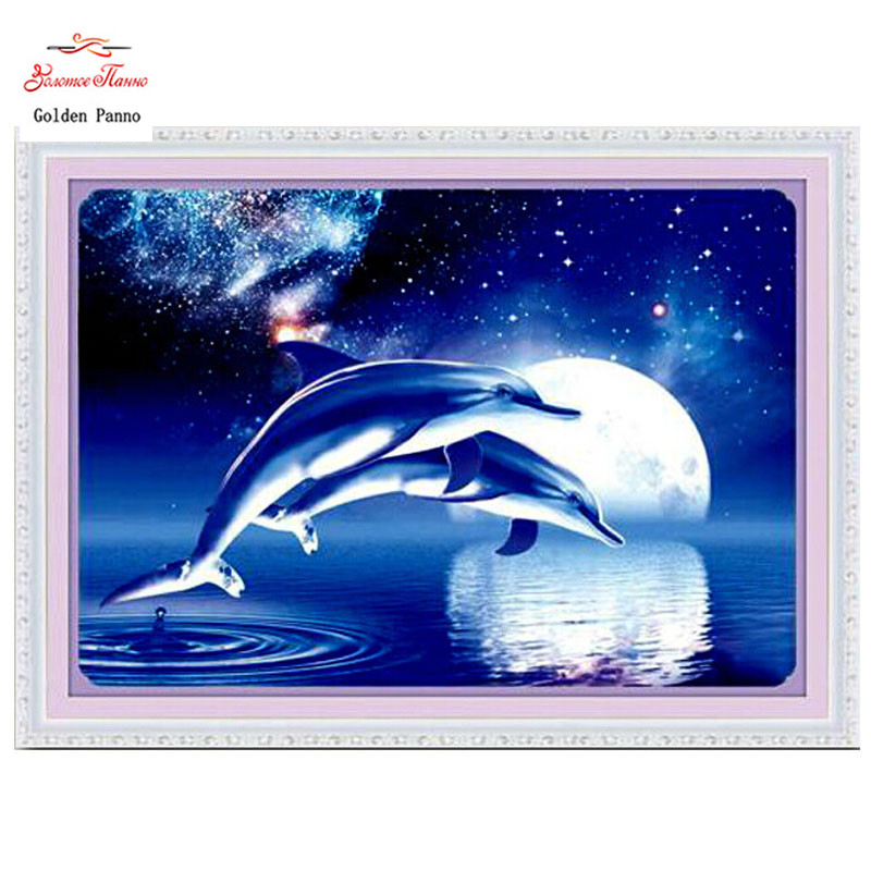 Golden panno,Needlework,Embroidery,DIY Animal Painting,Cross stitch,kits,11ct two dolphins  Cross-stitch,Sets For Embroidery