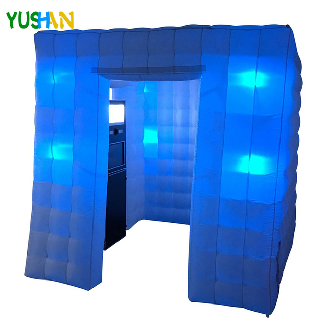 Popular 8ft Inflatable photo booth party backdrop with 8pcs LED Bulb lights  Inflatable Cabin Tent For Party Wedding decoration