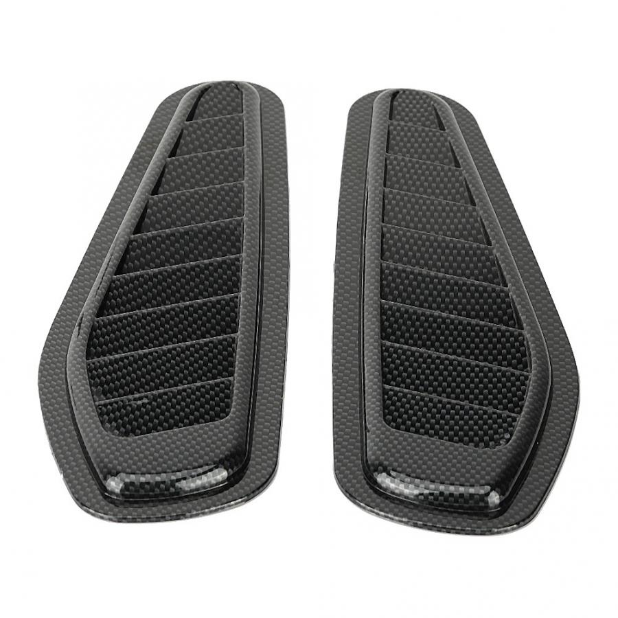 Universal Air Flow Intake Cover 2pcs Carbon Fiber Style Car Air Flow Intake Decorative Scoop Bonnet Vent Hood Cover hood scoop