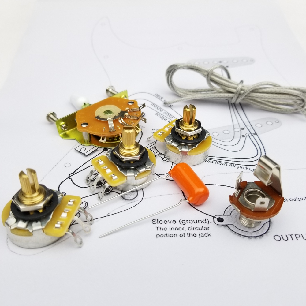 Electric Guitar Potentiometer CTS 250K Copper Shaft Wiring Kit For-Stratocaster CDE Orange Drop Cap +Welding Line Drawing