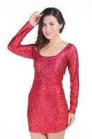 קשקשים דגים אדומים שרוול ארוך Vest bodycon בנות נשים סקסיות הדפסה דיגיטלית מלא בנות בגדי נשים שמלות מיני Vestidos