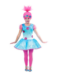 2018 New Year Trolls Poppy Cosplay Costumes Dresses For Girls Bobo Christmas dress baby girl Clothes Kids Fancy Dress & Wig Set(China)