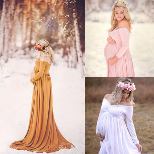 Pregnant Women Cotton Maternity Clothes Gown Photo Photography Prop Maxi Dress цены онлайн