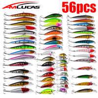 56pcs/lot Mixed Fishing Lure Kit Set Minnow Trolling Artificial Bait Lifelike Wobbler Carp Fishing Tackle Crankbaits Swimbait