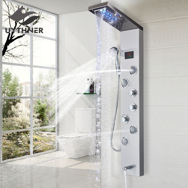 Newly Luxury Black Brushed Bathroom Shower Faucet LED Shower Panel Column Bathtub Mixer Tap With Hand