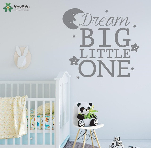 Yoyoyu dream big little one quote wall stickers for baby rooms bedroom wall decal kids gift