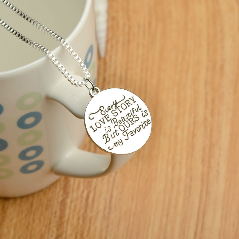 Wholesale Stamped Necklace Every Love Story Is Beautiful, But Ours is My FavouritePendant Necklace for Women 10pcs/Lot