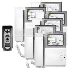 DIYSECUR 800×480 HD Monitor de Video de La Puerta de Vídeo Del Teléfono de Intercomunicación timbre de la puerta + 600 420tvline IR Cámara de Visión Nocturna Cámara de 1 6 monitores