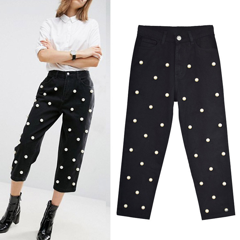 2018   jeans   High Waist Claf-Length Women   Jeans   Pearl Beading Black Straight Women   Jeans   Denim Pants Pantalon Femme