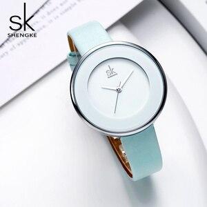 Image 3 - Shengke relojes de lujo para mujer, reloj de pulsera femenino de cuero blanco, de cuarzo con vestido combinado, Ultra delgado, 2020