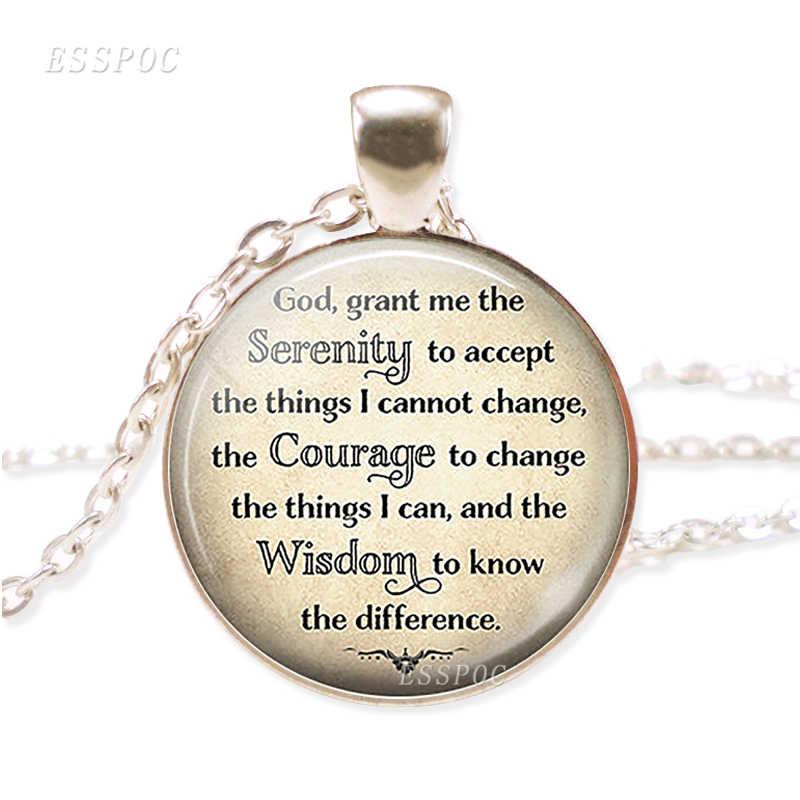 Venda quente bíblia versos colar citação bíblia vidro cabochon banhado a prata colar christian jewelry presente de natal para as mulheres