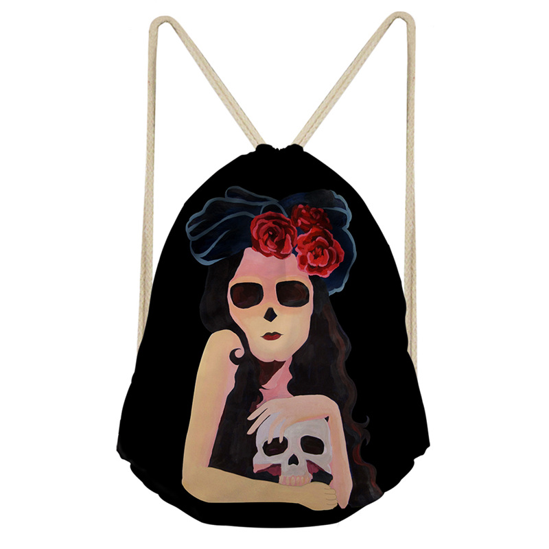 THIKIN Woman Holds The Skeleton Cartoon Fashion Girls Shoulder Bags Women Daily Drawstring Backpack Polyester Bags Good Quality
