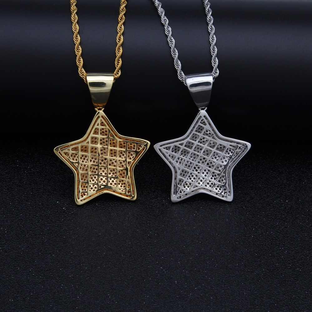 UWIN pięć punktów wisiorek w kształcie gwiazdy CZ Bling 3D Micro betonowa cyrkonia mężczyźni Charms Hip Hop moda biżuteria tenis łańcuchy dla prezent
