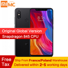 Ücretsiz vergi! küresel Sürüm Xiao mi mi 8 mi 8 cep telefonları 6 GB 64 GB Snapdragon 845 Octa Çekirdek 6.21