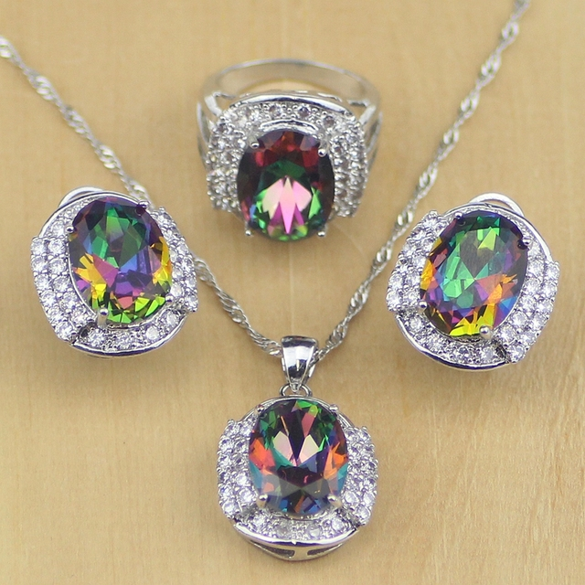 Mystic Rainbow Fire Cubic Zirconia Jewelry Sets Women 925 Sterling Silver