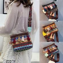 NoEnName Girls Messenger Bag Crossbody Bags Frauen Sommer Strandtasche Retro Geometric Fransen Umhängetasche Clutch Satchel