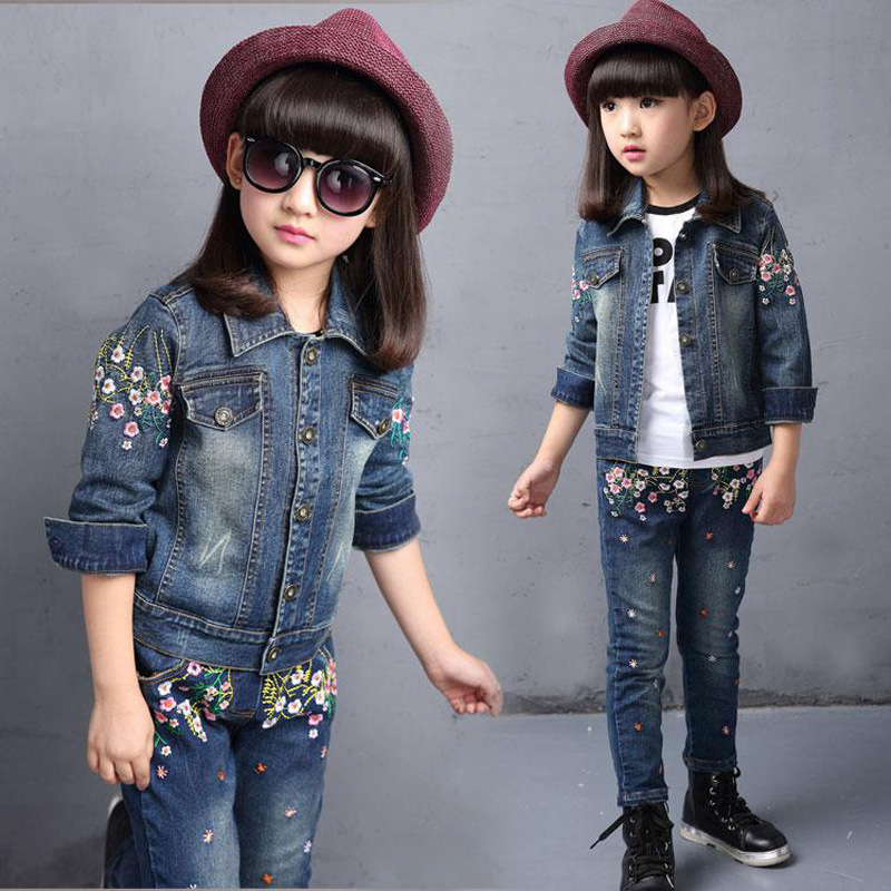 ФОТО 2017 Autumn Winter Kids Clothes Cowboy Chaqueta Girls Outfits Embroidery Denim Clothing Children Set 3-13 Years old Girl Clothes