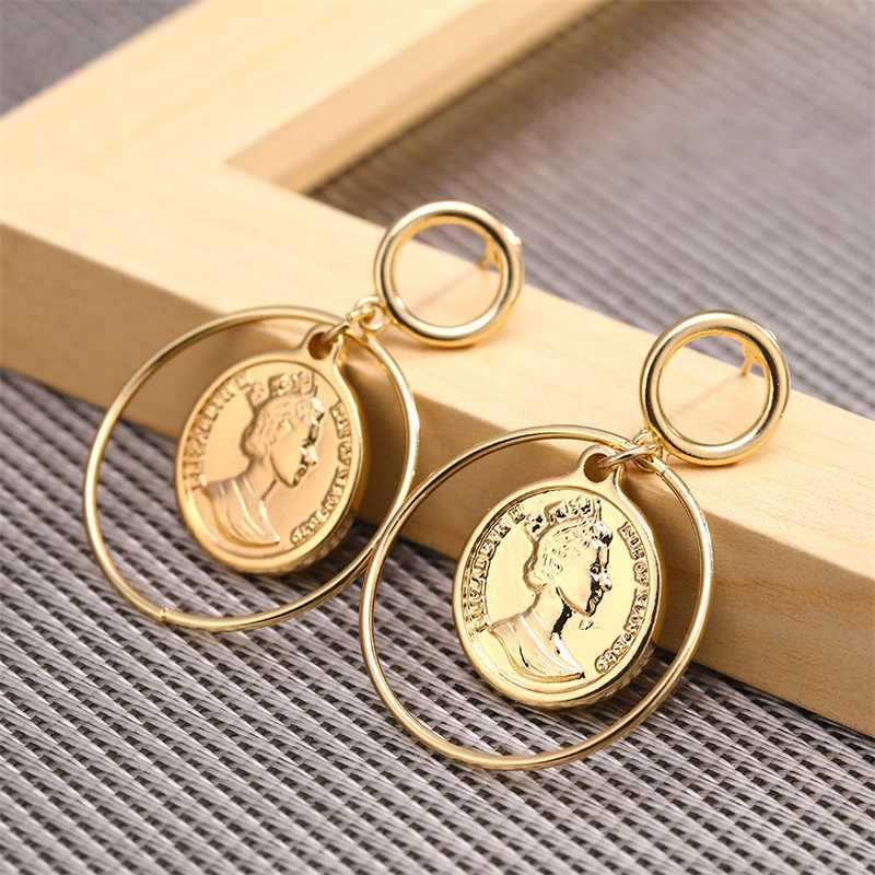 KISS WIFE Vintage Avatar Coin Pendant Metal Drop Earrings Punk Gold Alloy Dangle Earring Brincos for Women Statement Jewelry